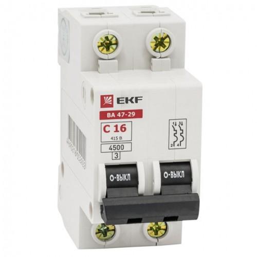 Автоматический выключатель 2P  6А (C) 4,5кА ВА 47-29 EKF Basic mcb4729-2-06C