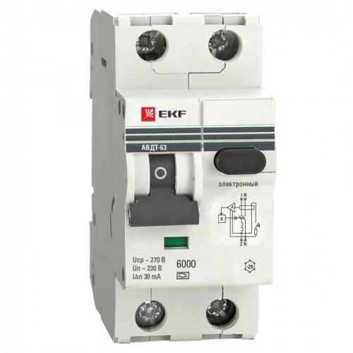 Дифференциальный автомат АВДТ-63 6А/30мА (хар-ка C, электронный тип A) 6кА EKF PROxima DA63-6-30e