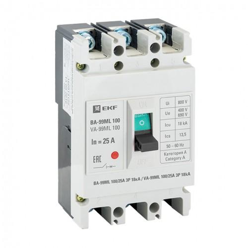 Автоматический выключатель ВА-99МL 100/25А 3P 18кА EKF mccb99-100-25mI
