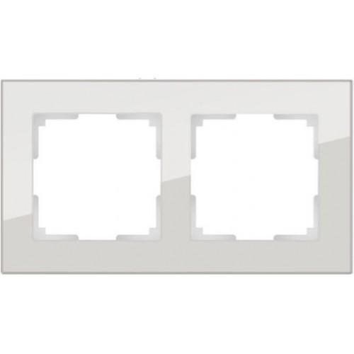 Рамка на 2 поста (дымчатый,стекло) / WL01-Frame-02 a030786