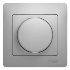 Glossa Алюминий Светорегулятор (диммер) поворотный, 300Вт (в сборе с рамкой)  Schnaider GSL000334