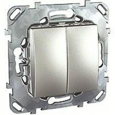 SE Unica Top Алюминий Выключатель 2-клавишный (сх.5) MGU5.211.30ZD
