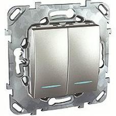 SE Unica Top Алюминий Переключатель 2-клавишный (сх.6+6) с подсветкой MGU5.0303.30NZD