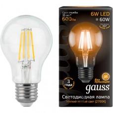 Лампа светодиодная Gauss LED Filament A60 E27 6W 2700К 102802106