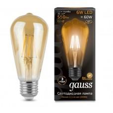Лампа светодиодная Gauss LED Filament ST64 E27 6W Golden 2400К 102802006