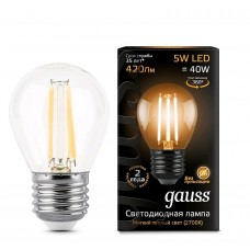 Лампа Gauss LED Filament Шар E27 5W 420lm 2700K 1/10/50 105802105