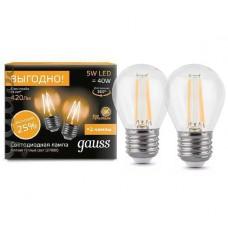 Лампа светодиодная Gauss LED Filament Globe E27 5W 2700К (2 лампы в упаковке) 105802105P
