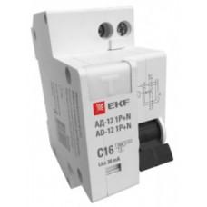 Дифференциальный автомат 1P+N 10А 30мА тип АС х-ка C эл. 4,5кА АД-12 EKF Basic DA12-10-30-bas