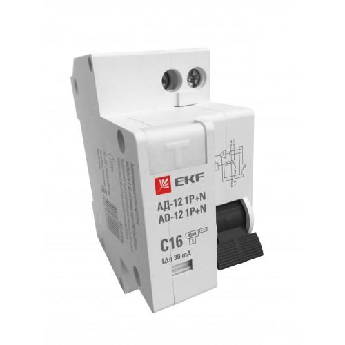 Дифференциальный автомат 1P+N 20А 30мА тип АС х-ка C эл. 4,5кА АД-12 EKF Basic DA12-20-30-bas