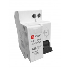 Дифференциальный автомат 1P+N 32А 30мА тип АС х-ка C эл. 4,5кА АД-12 EKF Basic DA12-32-30-bas