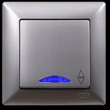 VS2815108 Выкл. 1-клав. проходной с подсв. серебряный металлик 01 28 15 00 100 108