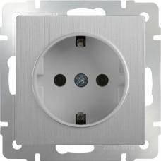 Розетка с заземлением / WL09-SKG-01-IP20 (cеребряный рифленый) w1171009(a051368)