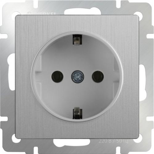 Розетка с заземлением / WL09-SKG-01-IP20 (cеребряный рифленый) a035648