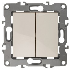 12-1104-02  ЭРА Выключатель двойной, 10АХ-250В, Эра12, слоновая кость Б0014646