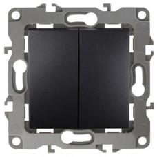 12-1104-05  ЭРА Выключатель двойной, 10АХ-250В, Эра12, антрацит Б0014649