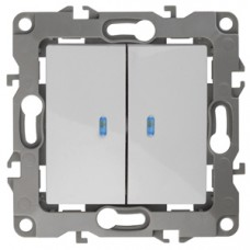 12-1105-01 ЭРА Выключатель двойной с подсветкой, 10АХ-250В, Эра12, белый Б0014657