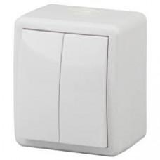 11-1404-01 Выключатель двойной IP54, 10АХ-250В, ОУ, Эра Эксперт, белый  ЭРА Б0020675