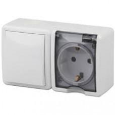 11-7401-01 Блок розетка+выключатель IP54, 16АХ(10AX)-250В, ОУ, Эра Эксперт, белый  ЭРА Б0020733