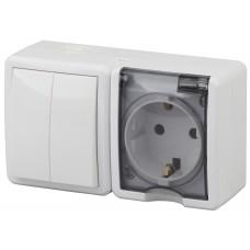 11-7402-01 Блок розетка+выключатель двойной IP54, 16АХ(10AX)-250В, ОУ, Эра Эксперт, белый  ЭРА Б0020735