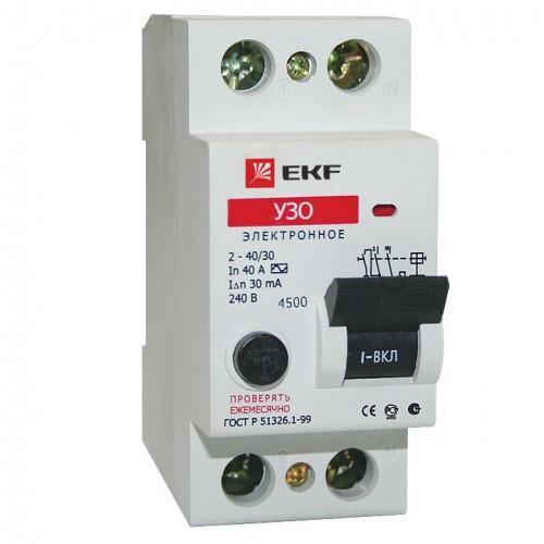 Устройство защитного отключения УЗО ВД-40 2P 16А/30мА (электронное) EKF Basic elcb-2-16-30e-sim