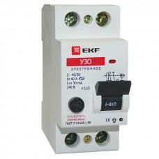 Устройство защитного отключения УЗО ВД-40 2P  40А/30мА (электронное) EKF Basic elcb-2-40-30e-sim