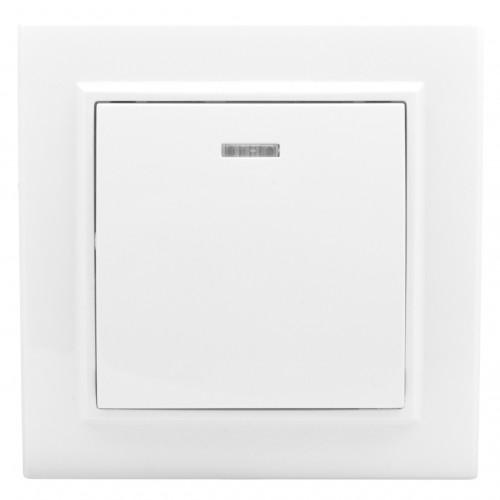 Минск Выключатель 1-клавишный СП с индикатором,10А, белый EKF Basic ERV10-121-10