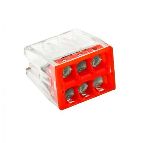 Строительно-монтажная клемма СМК 2273-246 (с пастой) 6 отверстий 0,5-2.5мм2 (50шт.) EKF PROxima plc-smk-2273-246