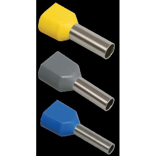 Наконечник-гильза НГИ2 1,0-10 с изолированным фланцем (желтый) (100 шт) ИЭК UTE10-D2-3-100