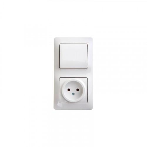 NEMLI 0719181 Комбинированный выключатель + розетка с землей бел.(серая крышка) 01 07 11 00 190 181