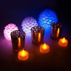 FL112 НАБОР 3 шт*1LED RGB шишки 110/90/70мм 3 шт*1LED чайных свечей 38*35мм 3 подсвечника 55*68мм 26849