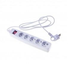 USF-5es-1.5m-W Сет.фильтр ЭРА (белый) с заземл, 3x0,75мм2, с выкл, 5гн, 1.5м (20/600) Б0019031
