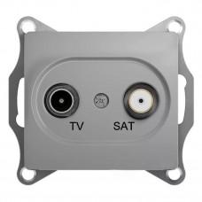 Glossa Алюминий TV-R Розетка проходная 4DB GSL000395