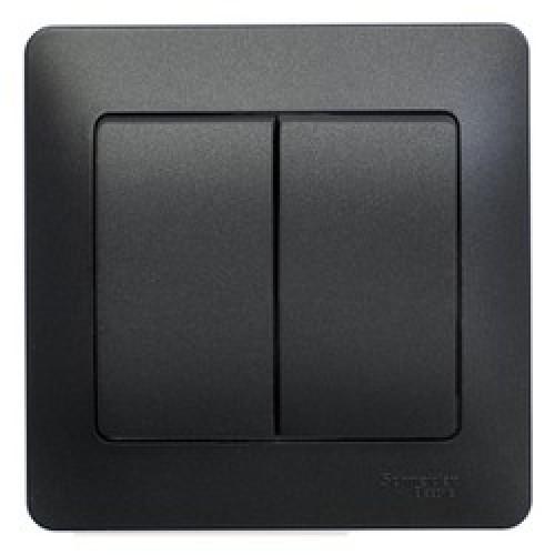 Glossa Антрацит Выключатель 2-клавишный, сх.5, 10АХ, в сборе GSL000752
