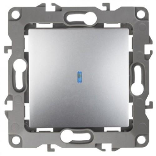 12-1102-03 ЭРА Выключатель с подсветкой, 10АХ-250В, Эра12, алюминий (10/100/3200) Б0014635