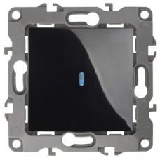 12-1102-06 ЭРА Выключатель с подсветкой, 10АХ-250В, Эра12, чёрный (10/100/2500) Б0014638