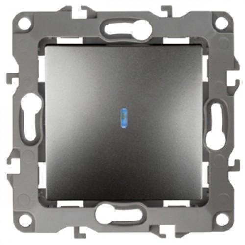 12-1102-12 ЭРА Выключатель с подсветкой, 10АХ-250В, Эра12, графит (10/100/2500) Б0019280