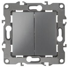 12-1104-12 ЭРА Выключатель двойной, 10АХ-250В, Эра12, графит (10/100/2500) Б0019287