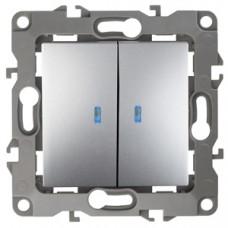 12-1105-03 ЭРА Выключатель двойной с подсветкой, 10АХ-250В, Эра12, алюминий (10/100/2500) Б0014659