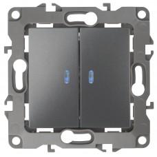 12-1105-12 ЭРА Выключатель двойной с подсветкой, 10АХ-250В, Эра12, графит (10/100/2500) Б0019291