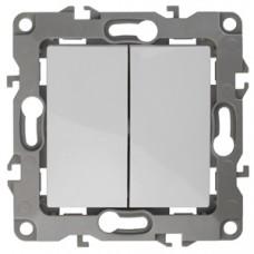 12-1106-01 ЭРА Переключатель двойной, 10АХ-250В, Эра12, белый (10/100/3200) Б0014663