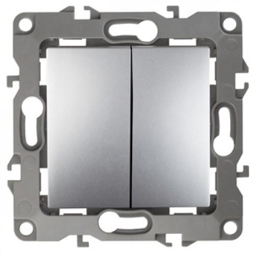 12-1106-03 ЭРА Переключатель двойной, 10АХ-250В, Эра12, алюминий (10/100/2500) Б0014665
