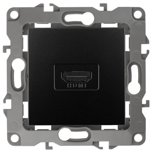 12-3114-05 ЭРА Розетка HDMI, Эра12, антрацит (10/100/3200) Б0027485