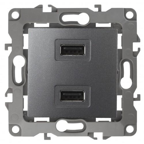 12-4110-12 ЭРА Устройство зарядное USB, 5В-2100мА, Эра12, графит (6/60/1920) Б0027497