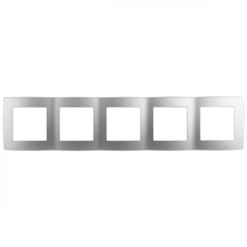 12-5005-03 ЭРА Рамка на 5 постов, Эра12, алюминий (10/100/2400) Б0014783