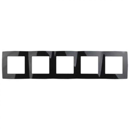 12-5005-06 ЭРА Рамка на 5 постов, Эра12, чёрный (10/100/1600) Б0014786