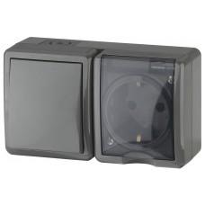 11-7401-03 ЭРА Блок розетка+выключатель IP54, 16АХ(10AX)-250В, ОУ, Эра Эксперт, серый (8/80/1280) Б0020734