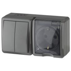 11-7402-03 ЭРА Блок розетка+выключатель двойной IP54, 16АХ(10AX)-250В, ОУ, Эра Эксперт, серый (8/80/ Б0020736