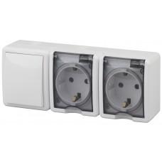11-7403-01 ЭРА Блок две розетки+выключатель IP54, 16АХ(10AX)-250В, ОУ, Эра Эксперт, белый (5) Б0027673