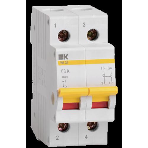 Выключатель нагрузки (мини-рубильник) ВН-32 2Р  63А ИЭК MNV10-2-063
