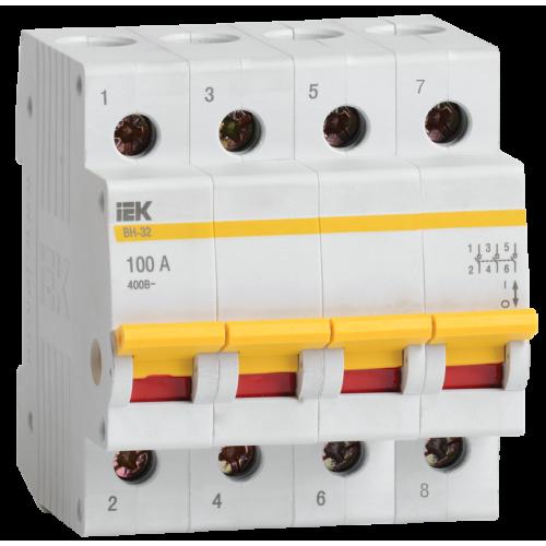 Выключатель нагрузки (мини-рубильник) ВН-32 4Р  63А ИЭК MNV10-4-063